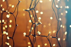 Glowing Christmas lights Stock Photo