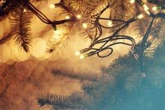 Glowing Christmas lights Stock Image