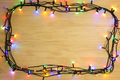Glowing Christmas lights frame Royalty Free Stock Image