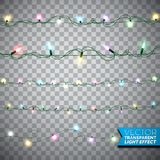 Glowing Christmas lights realistic isolated design elements on transparent background.  Stock Photos