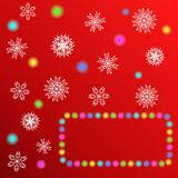 Glowing Christmas Lights and snowflakes for Xmas Greeting Cards design. Winter red background. Royalty Free Stock Images
