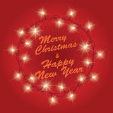 Glowing christmas lights wreath. On red background. Vector illustration Royalty Free Stock Photos