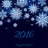 Glowing 2016 christmas new year background. Diamond crystal snowflakes on dark blue. Winter holiday design Stock Images