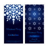 Glowing 2016 christmas new year invitation. Glowing 2016 christmas new year party invitation background. Diamond crystal snowflakes on dark blue. Winter holiday Stock Image