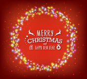 Glowing Christmas round garland, red background. Lights effects, luminous bulbs Stock Images