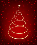 Glowing Christmas Tree. On red starry background royalty free illustration