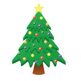 Glowing Christmas Tree. A 4 tier christmas tree complete with glowing bulbs and a star stock illustration