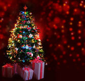Glowing Christmas tree Royalty Free Stock Photos