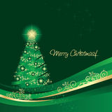 Glowing Christmas tree greeting card Stock Images