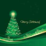 Glowing Christmas tree greeting card vector illustration