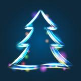 Glowing Christmas tree illustration Stock Photography