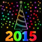 Glowing Christmas tree and lights card, New Year 2015 text Royalty Free Stock Photo