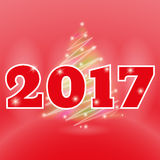 Glowing Christmas tree 2017 with lights. Happy New Year theme Stock Images