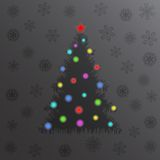 Glowing Christmas tree and lights. New year card. winter background Royalty Free Stock Image