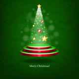 Glowing Christmas tree. The original idea for a Christmas card vector illustration