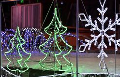 Glowing Christmas tree and snowflake  made from diode type Stock Photo