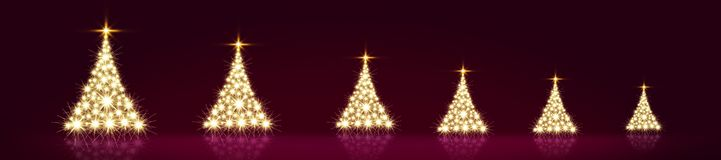 Glowing Christmas tree with star isolated. Christmas background. Christmas tree with lights isolated on red background. Glowing fir tree with star royalty free stock image