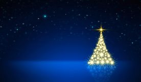 Glowing Christmas tree with star sky . Christmas background. Christmas tree with lights isolated on blue sky background. Glowing fir tree with star Stock Photography