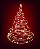 Glowing Christmas Tree, vector. Glowing starry Christmas tree on red background Stock Photos