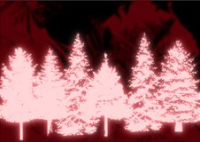 Glowing Christmas Trees Royalty Free Stock Photography