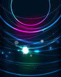 Glowing circle in dark space. Glowing circle and blending colors in dark space. Vector illustration. Abstract background Royalty Free Stock Photography