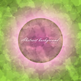 Glowing circle with flow texture. Glowing ring with colorful flow texture pink color and inscription inside on green abstract background Royalty Free Stock Image