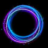 Glowing circle light effect. Nightclub lights halo ring. Glow effect design to party. Vector illustration Stock Photography