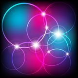 Glowing Circles. Abstract Background - Glowing Circles on Blue / Violet Background - Vector Stock Photos