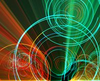 Glowing circles. Glowing neon abstract circles, laser disco lighshow Stock Photo
