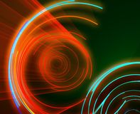 Glowing circles. Glowing neon abstract circles, laser disco lighshow Royalty Free Stock Photo