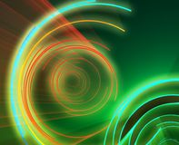 Glowing circles. Glowing neon abstract circles, laser disco lighshow Royalty Free Stock Image