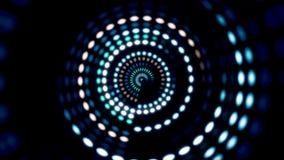 Glowing circular 3D UI element. Illuminated geometric circle and sphere shapes transforming in a seamless loop. Circular
