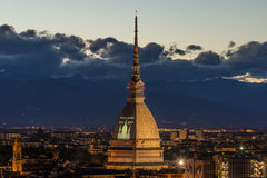 Glowing cityscape of Torino Turin, Italy at dusk Stock Image