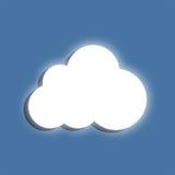 Glowing cloud. Symbol on a blue background. Flat design elemen Stock Illustration