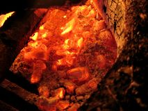 Glowing Coal. Glowing red coal from a fireplace stock photography