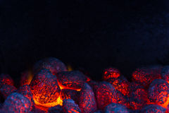 Glowing coal on a barbecue Royalty Free Stock Photography