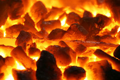 Glowing coals Royalty Free Stock Photo