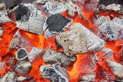 Glowing Coals. Background or Texture for text or image Stock Photography