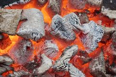 Glowing Coals in BBQ Pit Stock Photo