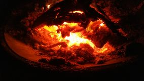 Glowing coals. The end of the fire as the coals start to die Royalty Free Stock Image