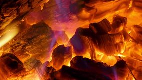 Glowing coals in the fireplace stock footage