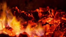 Glowing coals in the fireplace stock video