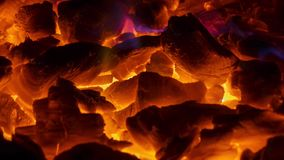 Glowing coals in the fireplace stock video footage