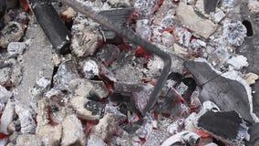 Glowing coals - spread hot coals stock video footage