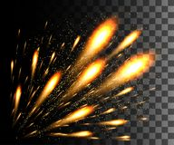 Glowing collection. Golden firework, light effects isolated on transparent background. Sunlight lens flare, stars. Shining element. S. Holiday fireworks. Vector Royalty Free Stock Photography