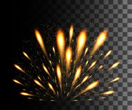 Glowing collection. Golden firework, light effects isolated on transparent background. Sunlight lens flare, stars. Shining element. S. Holiday fireworks. Vector Stock Photos