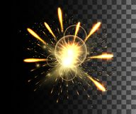 Glowing collection. Golden firework, light effects isolated on transparent background. Sunlight lens flare, stars. Shining element. S. Holiday fireworks. Vector Royalty Free Stock Photo