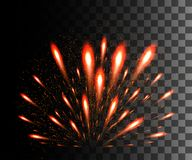 Glowing collection. Red firework, light effects isolated on transparent background. Sunlight lens flare, stars. Shining elements. Royalty Free Stock Photos