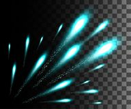 Glowing collection. Turquoise firework, light effects isolated on transparent background. Sunlight lens flare, stars. Shining elem. Ents. Holiday fireworks Royalty Free Stock Photography