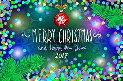 Glowing color Christmas Lights Wreath for Xmas Holiday Greeting Cards Design. Merry Christmas and Happy New Year 2017, vector. con Stock Photos